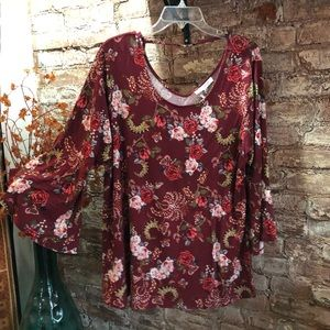 NWT Rose + Olive burgundy floral bell sleeve top